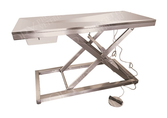 Tavolo veterinario elettrico in acciaio inox
